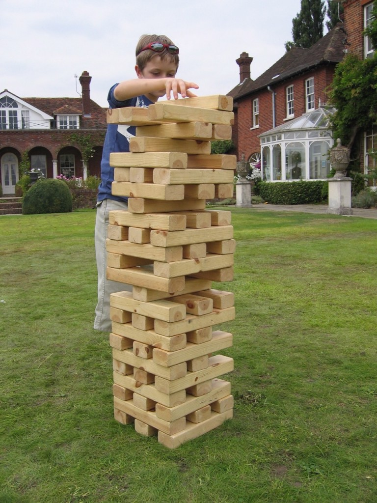 Corporate funday magician giant jenga, giant games